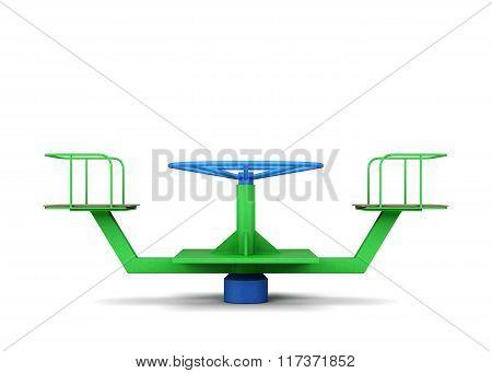 Playground merry-go-round. 3d rendering