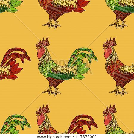 Seamless Pattern With Colorful Cock.