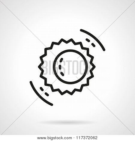 Black line solar eclipse symbol vector icon