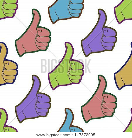 Seamless Pattern With Thumbs Up Sign.