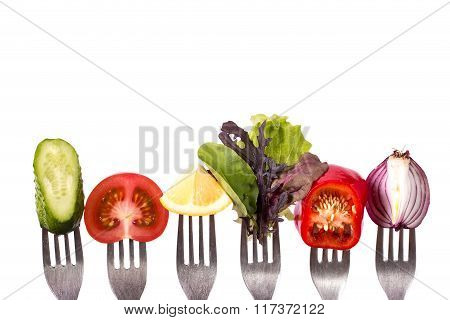 Fresh mixed vegetables on fork .healthy food