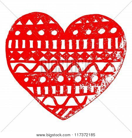 Zentangle Doodle Red Heart Ink Hand Drawn Vector Isolated