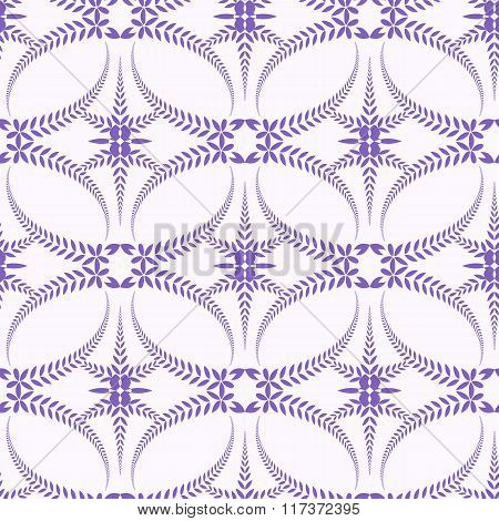 Seamless lace pattern. Vintage, curled texture. Spiral, swirl silhouettes with laurel leaves. Floral