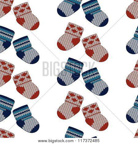 Vector little knitting socks seamless pattern. Children theme background.