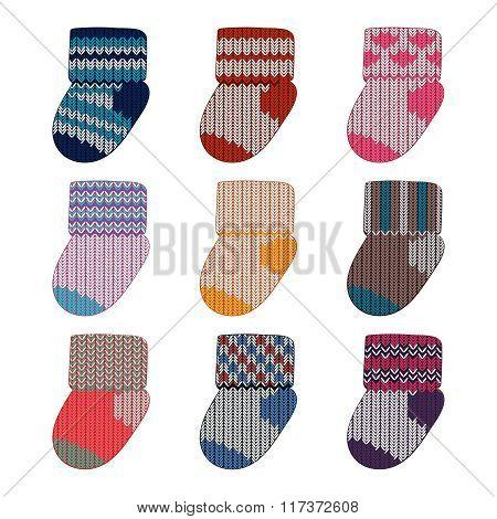 Vector little knitting socks set. Children theme background.
