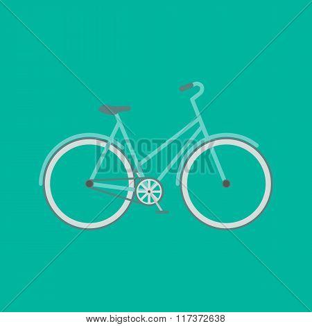 Stylish bicycle. Minimalistic flat bicycle illustration. Retro Illustration Bicycle. Vector modern flat illustration of stylish bicycle on green background isolated.