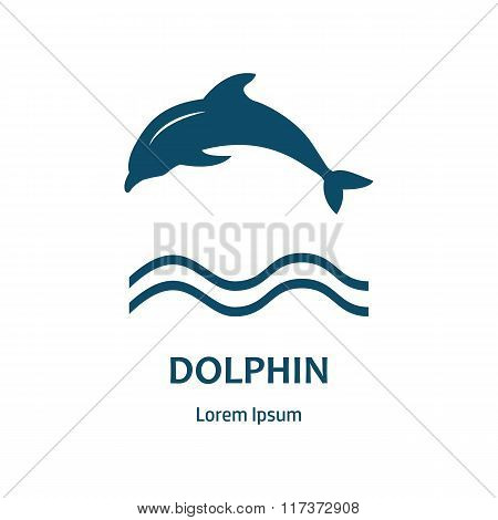 Design Of Logo With Dolphin And Label