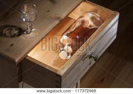 Bottle Brandy In A Drawer