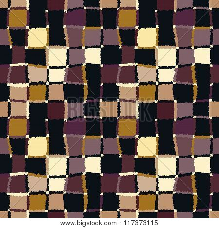Seamless geometric mosaic checked pattern. Background rectangles and squares. Patchwork, ceramic tex