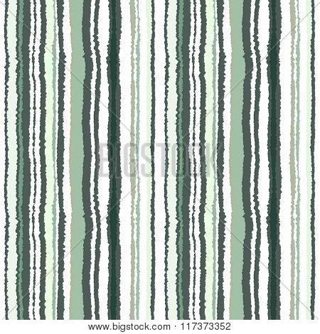 Seamless striped pattern. Vertical narrow lines. Torn paper, shred edge texture. Green, white, olive