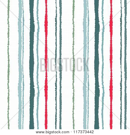 Seamless striped pattern. Vertical narrow lines. Torn paper, shred edge texture. Green, white, red c