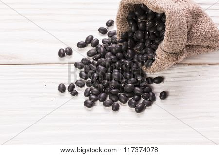 Black beans ,healthy food on  white background