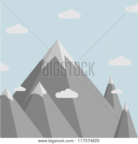 minimalistic illustration of a mountain scenery, eps10 vector