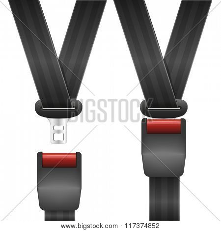 detailed illustration of an open and closed seat belt, eps10 vector
