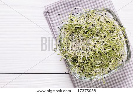 Onion sprouts,healthy  food concept on wooden bacground