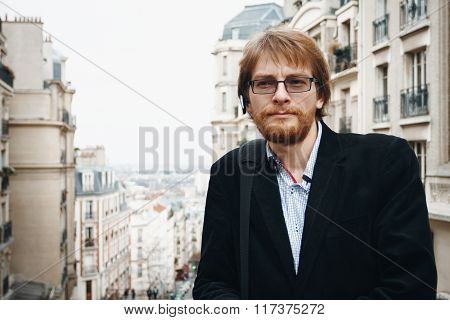 Handsome Bearded Man In Paris, France