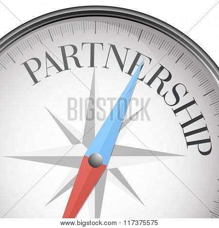 detailed illustration of a compass with Partnership text, eps10 vector