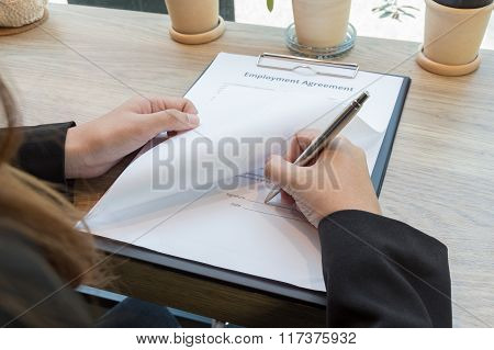 Business Woman Signing Contract Document Form