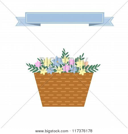Wattled Basket With Flowers