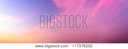 Beautiful Twilight Sky And Cloud - Panorama Effect