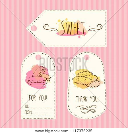 Tags with cookie illustration. Vector hand drawn labels set with watercolor splashes. Sweet vector m
