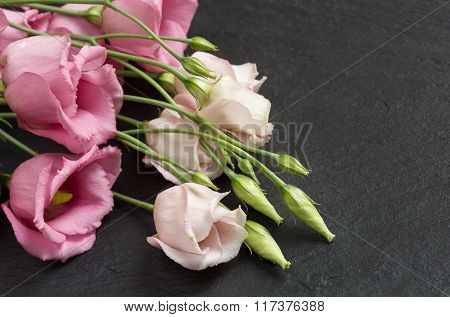 Beautiful bunch of pink lisianthus flowers on grey slate