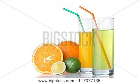 glasses of orange and lime juices with orange and lime fruits isolated on white. Header for website