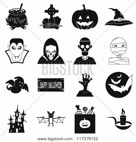 Halloween black simple icons