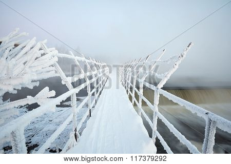 suspension bridge in frost