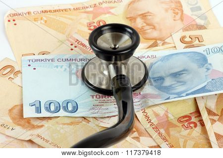 Turkish lira and Stetshoscope