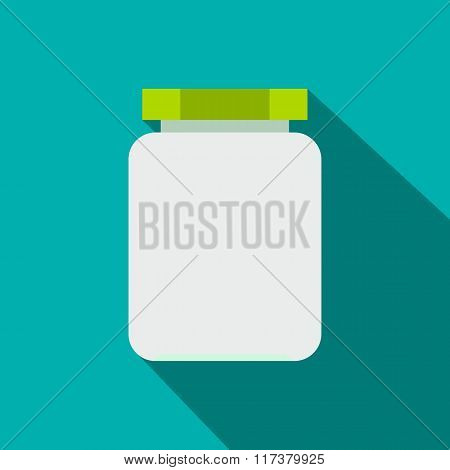 Empty glass jar with green lid flat icon
