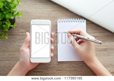 Female Hands Holding Phone With Isolated Screen Pen And Notebook