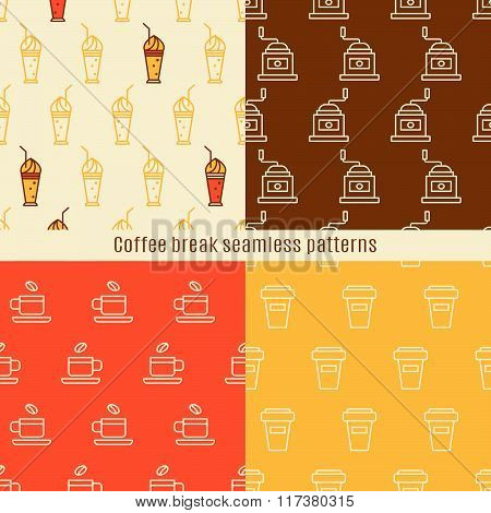 Seamless pattern with linear coffee icons.Elements of the coffee-break for your design. Vector illustration.