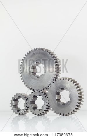 groups of gears on isolated background
