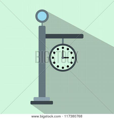 Street clock flat icon