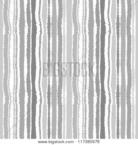 Seamless strip pattern. Vertical lines with torn paper effect. Shred edge background. Gray colors. V