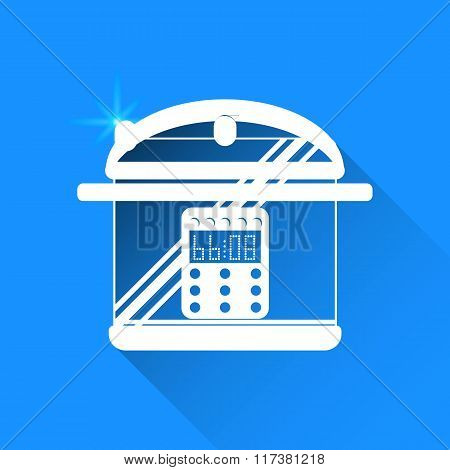 Pan On Blue Background. Vector Isolated