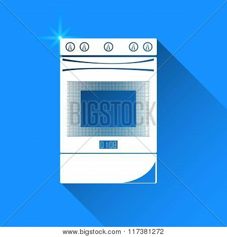 Gas Stove On Blue Background. Vector Isolated