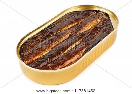 An Open Oval Can Of Sprats In Oil