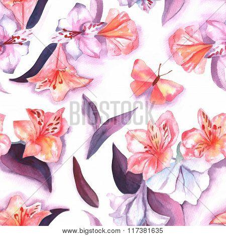 Watercolor Peruvian Lilies And Butterflies Seamless Background Pattern Design