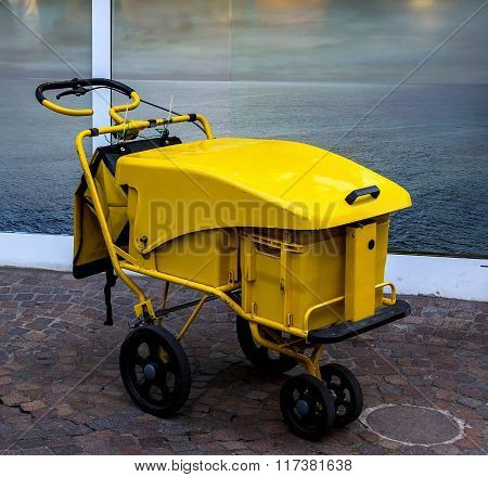 Postman Mail Delivery Cart In Yellow For Home Delivery