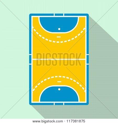 Handball field flat icon