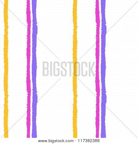 Seamless strip pattern. Vertical lines with torn paper effect. Summer, yellow, magenta, lilac on whi