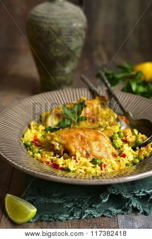 Grilled Chicken With Fried Rice And Vegetables.