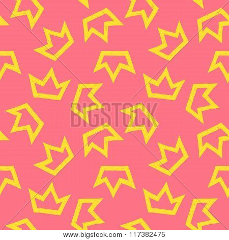 Vector Pattern Of Yellow Crowns On Pink Background
