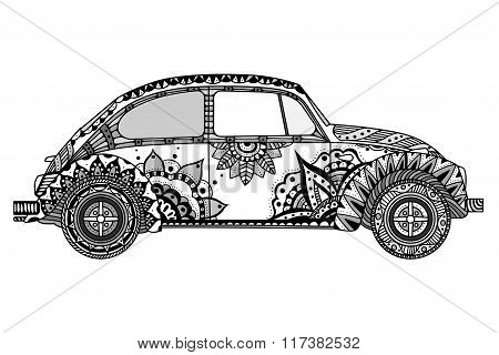 Vintage Car In Zentangle Style