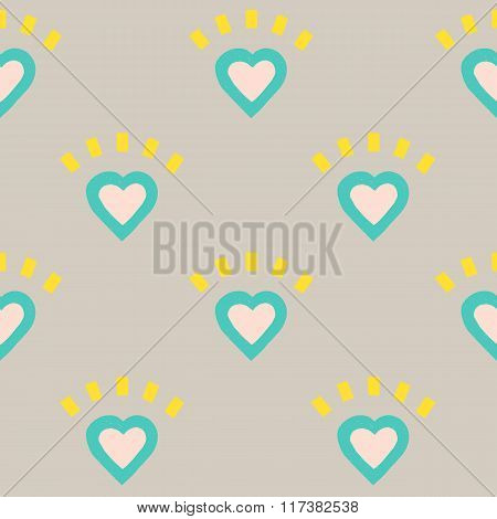 Vector Pattern Of Colorful Hearts On Gray Background