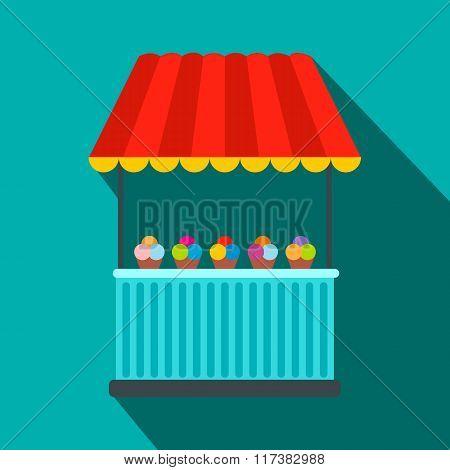 Tent with ice cream flat icon