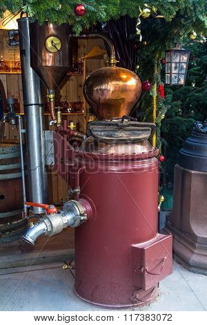 Vintage Equipment For Beer Production On Christmas Market
