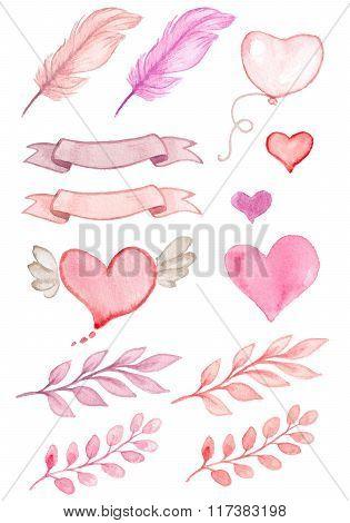 Watercolor Valentine Set